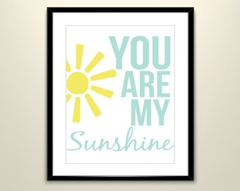 You Are My Sunshine Poster Set of 4 // 11X14
