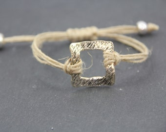 thin bracelet, raw linen cordon, nice silvered connector