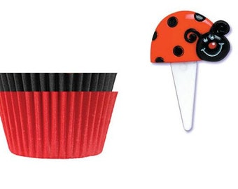 Ladybug Picks with Red & Black Baking Cups