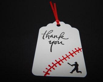 Baseball Gift Tags - Baseball Birthday Decor - Baseball Party Favor Tags - Set of 12