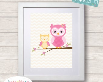 Owls sitting on a branch, pink and yellow, Childrens / Art Nursery Print,  Wall Decor,  Wall Art. Can be personalized with name.