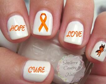Awareness Orange Ribbon Nail Art Decals MS or Leukemia
