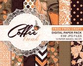 Coffee Digital Paper Pack Instant Download Orange Chocolate Recipes White Brown Orange Chevron Polka Dot Cupcake Indian Brazilian 6x6 inches
