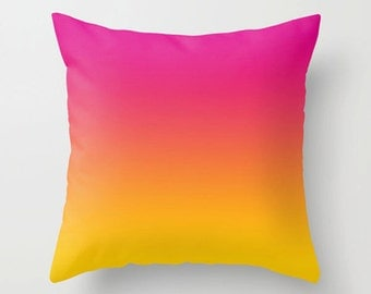 Pillow, fuchsia pink yellow, Decorative colorful throw pillow, Modern design home decor, Couch accent cushion (403)