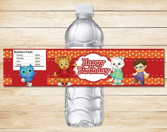Daniel Tiger Water Bottle Labels Orange / Daniel Tiger Drink Labels / Daniel Tiger Birthday / Daniel Tiger Party / Daniel Tiger Favors