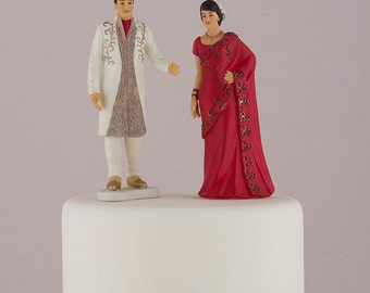 Personalized Wedding Cake Topper - Indian Wedding Cake Topper - East Indian Cake Topper - Bridal Party Cake Topper - Custom Hair Styles