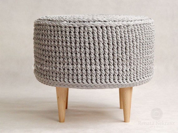promotioncrochet pouf crochet footstool round pouf by rnartdesign. Black Bedroom Furniture Sets. Home Design Ideas