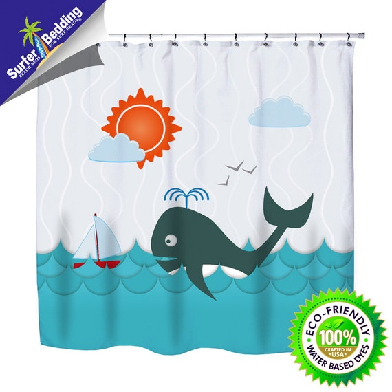 Whale Watching Eco Friendly Kids Shower Curtain from Kids Bedding ...