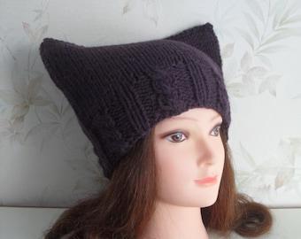 Women hand knitted dark purple Cat hat/ ear hat/ slouchy beanie