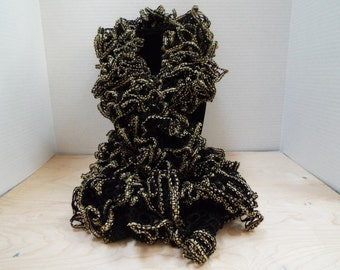 Crochet Ruffle Scarf, Handmade Black Lacy and Gold Accent Winter / Warm Scarf