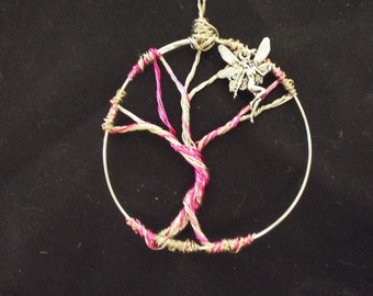 Tree of Life Pendant, Pink Fairy Wire Wrapped Tree Pendant, Tree Necklace Charm, Handmade Birthstone Wire Tree