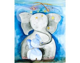 Elephant art, blue nursery decor, elephant baby shower gift, baby elephant decorations, baby elephant nursery, baby elephant mobile drawing.