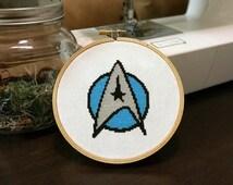 Blue Star Trek Insignia Cross Stitch Pattern