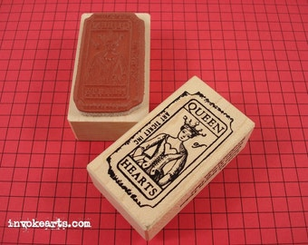Queen of Hearts Ticket Stamp / Invoke Arts Collage Rubber Stamps