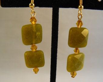 Jade Green Faceted Stone Earrings