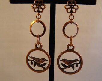 Copper Birds on a Branch Earrings
