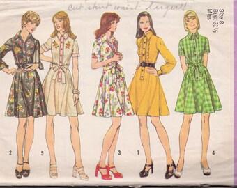 Simplicitiy 6201 Vintage 1974 Shirtdress Sewing Pattern