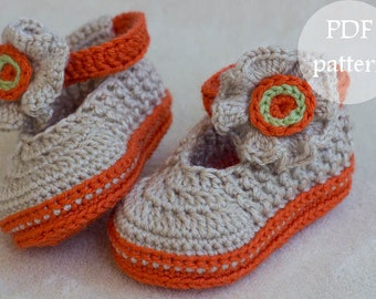 CROCHET PATTERN for Baby orange-beige booties with flower button- Cheap Crochet Boot Pattern, Booties Pattern, Baby Boots, INSTANT download