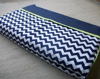 Boy Nap Mat Cover, 100% Cotton, Navy Chevron/Lime Green ***Choose your size!