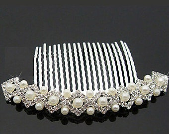Rhinestones With Imitation Pearls Wedding Hair Comb