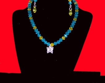 """Girl's yellow and blue butterfly necklace 14"""""""