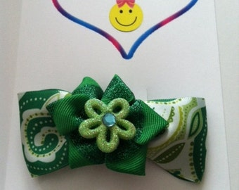 Paisley green flower bow barrette