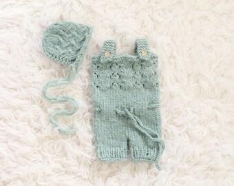 Newborn Knit Overalls and Bonnet Set