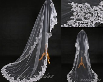 Custom cathedral length veil,Pageant lace edge bridal veil,White/Ivory long wedding veil,Tulle veil,Bridal accessory
