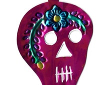 Pink Painted Sugar Skull Tin Ornament Made in Mexico Small Wall Plaque Decoration