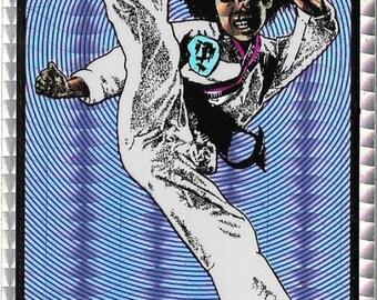 Karate Kick Prism Sticker /  Vinyl Decal, Vintage 1980s Vending Machine Stock, Martial Arts, NEW