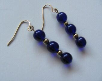 Handmade Royal Blue Glass Dangling Beaded Earrings