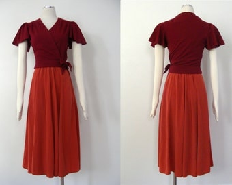 Vintage 1980s Burnt Orange Skirt - Vintage Clothing - Midi Skirt - Highwaisted Skirt - Vintage Highwaisted Skirt - 1980s Clothing