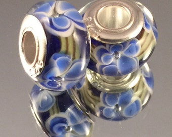 Murano Glass Bead - .925 Sterling Silver Core - Blue With Blue & White Flowers - #M104