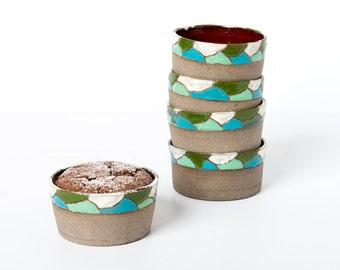Set of 6 Small ceramic baking dish, Holidays gift