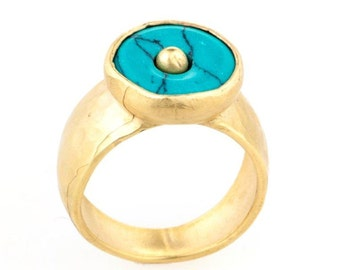 Turquoise Ring, 18K Gold Plated Ring, Solitaire Ring, Turquoise Stone Ring, Statement Ring, Turquoise Jewelry, Unique Rings