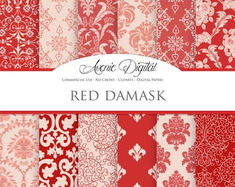 Red Damask Digital Paper. Scrapbooking Backgrounds. Light / dark red patterns for Commercial Use. Valentine's Day. Instant Download.