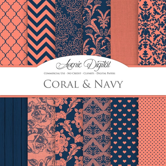 Coral Navy Wedding Digital Paper. Scrapbooking Backgrounds