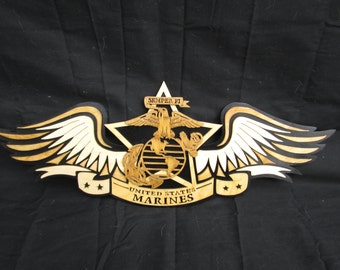 marine corps with wings, measures 18 1/2 x 6 3/4