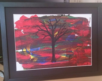 A3 Framed Silhouette tree in acrylics