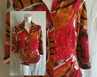 262--1990s vintage blouse-Size medium- Polyester and Spandex-Colorful print-Retro- Trendy- Hippie-Boho-Teen-Ladies fashion