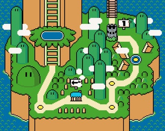 Super Mario World Yoshi's Island Map -- Cross Stitch Pattern!