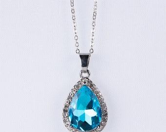 Teardrop Necklace,Teardrop Pendant Wedding Jewelry, Prom, Jewelry Beautiful Blue Zircon Stone Pendant Bridesmaid n43
