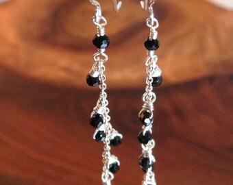Black Earrings, black spinel, dangle, silver, black, gemstone, silver chain, silver drop, dainty, minimalist, delicate