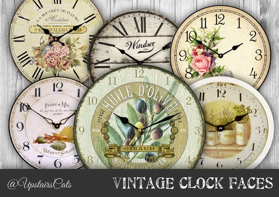 Vintage Clock Faces Images 4 inch clocks collage by ...