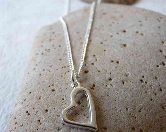 Silver Plated Simple Heart Necklace