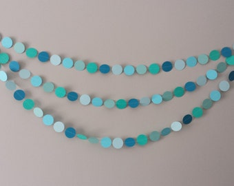 Paper Garland, Birthday Party, Baby shower, Decor, Teal, Blue, Gender Reveal