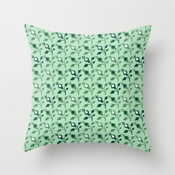 Mint Green And Brown Throw Pillows : Mint Throw Pillow Green Decorative Pillows by DesignbyJuliaBars