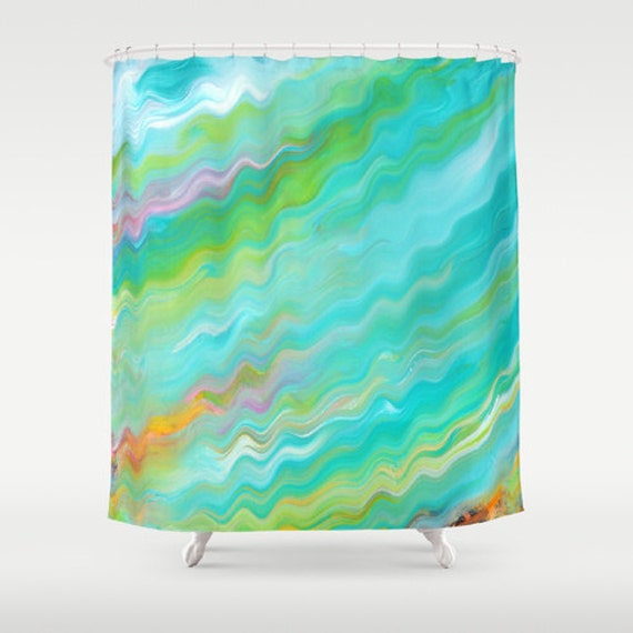 Items similar to shower curtain turquoise blue green - Green and turquoise curtains ...