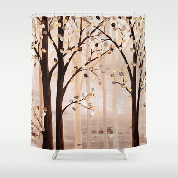 Unique Shower Curtain Brown Beige Abstract By DesignbyJuliaBars
