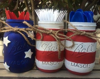 American Flag Painted Mason Jars - Red, White and Blue - Fourth of July Party Decor - Picnic BBQ Utensil Holder - July 4 Patriotic Vase